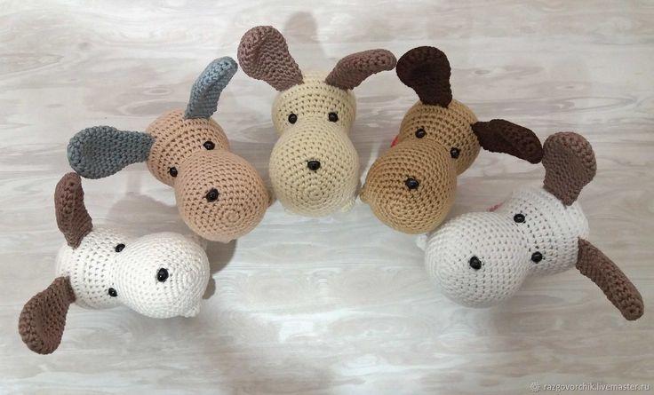 Купить Вязаные собачки полосатики - комбинированный, собака, собачка, собачки, вязаные собаки, собаки вязаные