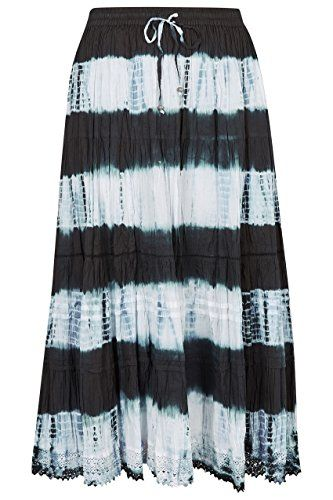 64b3bd673f Yours Clothing Women's Plus Size Tie Dye Tiered Maxi Skirt with Lace Trim  Hem Size 22 Black