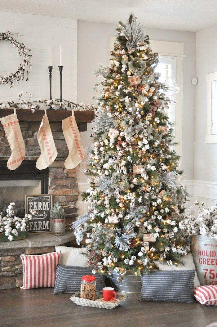 Farmhouse Christmas Tree | Modern Farmhouse Holiday Decorating 2018 |  Kara's Party Ideas KarasPartyIdeas.com - Farmhouse Christmas Tree Christmas Christmas Decorations