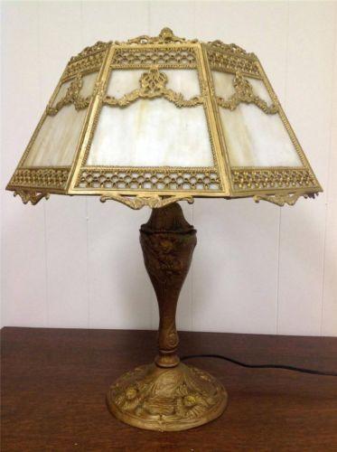 Antique Royal Art Glass Co Lamp Caramel Slag Glass Shade