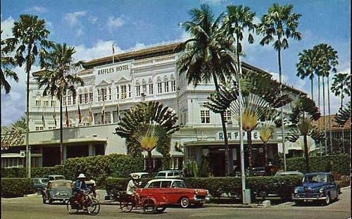 Raffles Hotel, Singapore 1960s. Spent an expensive night in the Somerset Maugham suite in the 80s waiting for my sweetheart's flight to arrive. When it arrived we had to check out!