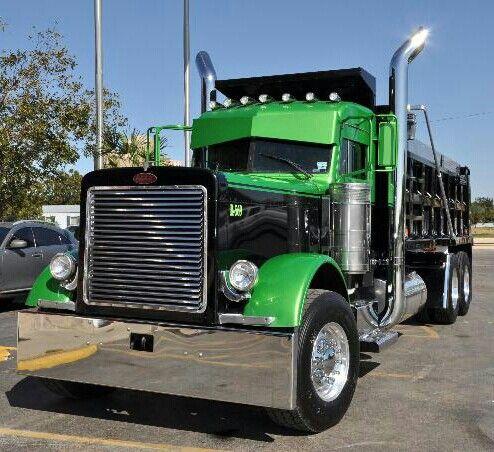 Black and. Green. Peterbilt. Dump truck. Diesel. Wagon
