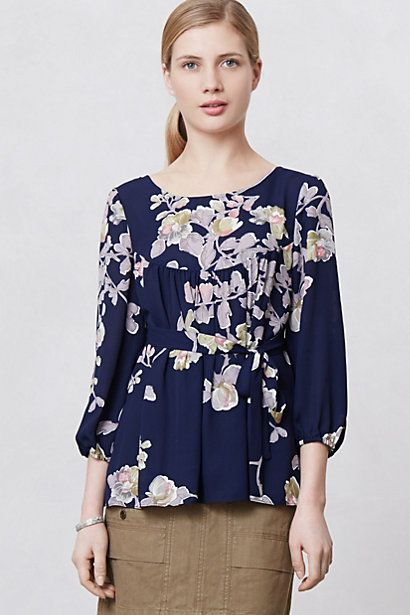 I tried this on the other day, it had a really nice feel to it, a very hippy vibe. Be sure to wear proper undergarments with it: Provencal Maple Blouse #anthropologie