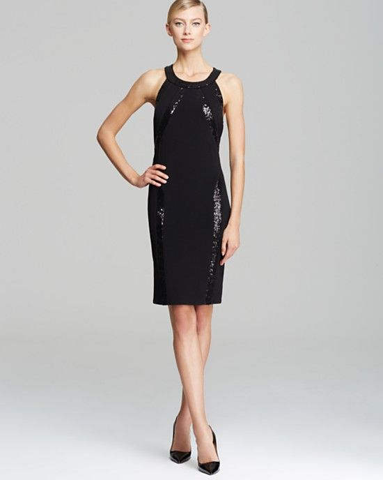 Laundry by Shelli Segal Cut Away Sequin Matte Jersey Dress