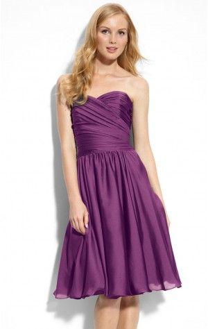 Exclusive Sheath Short Strapless Purple Satin Dress