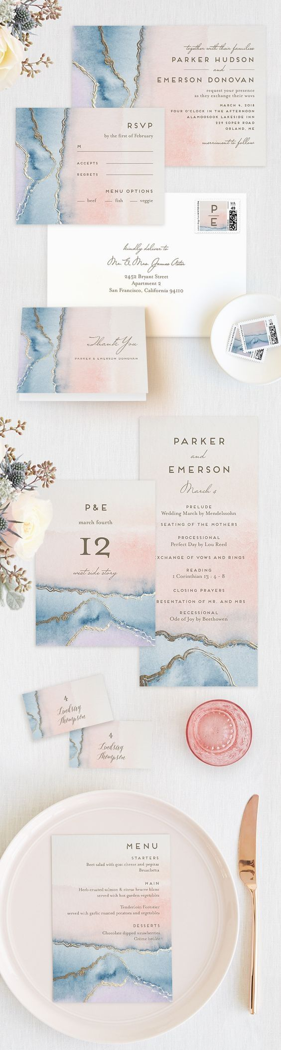 Serenity & Rose Quartz Wedding Invitations || Wedding Stationery || Wedding Invitation Suites