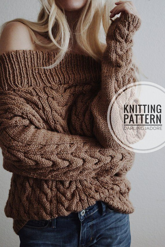 KNITTING PATTERN ⨯ Cable Knit Sweater Pattern, Chunky Pullover Sweater Knitting Pattern ⨯ Fall Fashion Women's Sweater Knit Pattern PDF