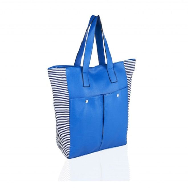 70775 Shopper colorata a Strisce Blu Scuro