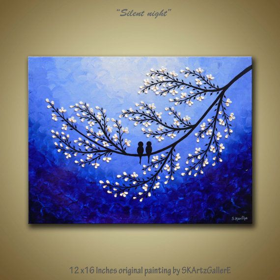 Original Acrylic painting of Love birds on white flower blossom tree branch - A modern contemporary landscape artwork for home wall decor.