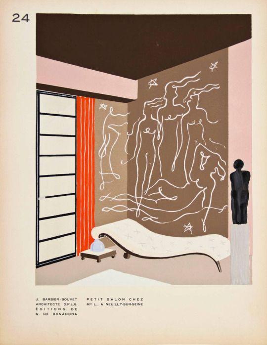 """Japanese sliding door, cross patterned chaise, red-orange curtains, black sculpture on pedestal, brown and pink walls, Matisse-esque muraldesign-is-finePrint from """"Décoration moderne dans l'intérieur"""" by Henry Delacroix. 1930. Paris. Pochoir-process prints. Via Ursus Books"""