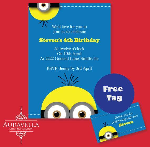 MINION Invitation. Printable birthday invitation by Auravella