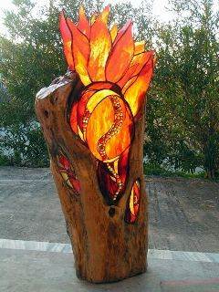 Wood on fire glass art Beautiful..