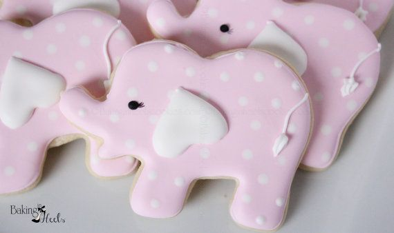 Elephant Baby Shower Cookies Pink Elephant by Bakinginheels