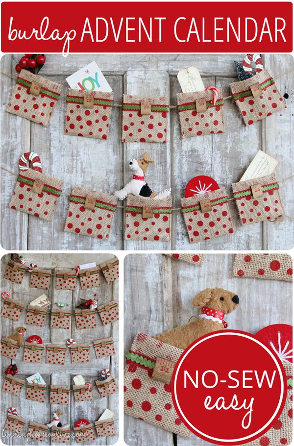 """Use for an """"event"""" advent calendar. each pocket will contain an activity like: make peppermint hot chocolate, decorate tree, go sledding, make a popcorn chain for tree, play pin the nose on the reindeer, watch Rudolph the Red Nosed Reindeer...."""