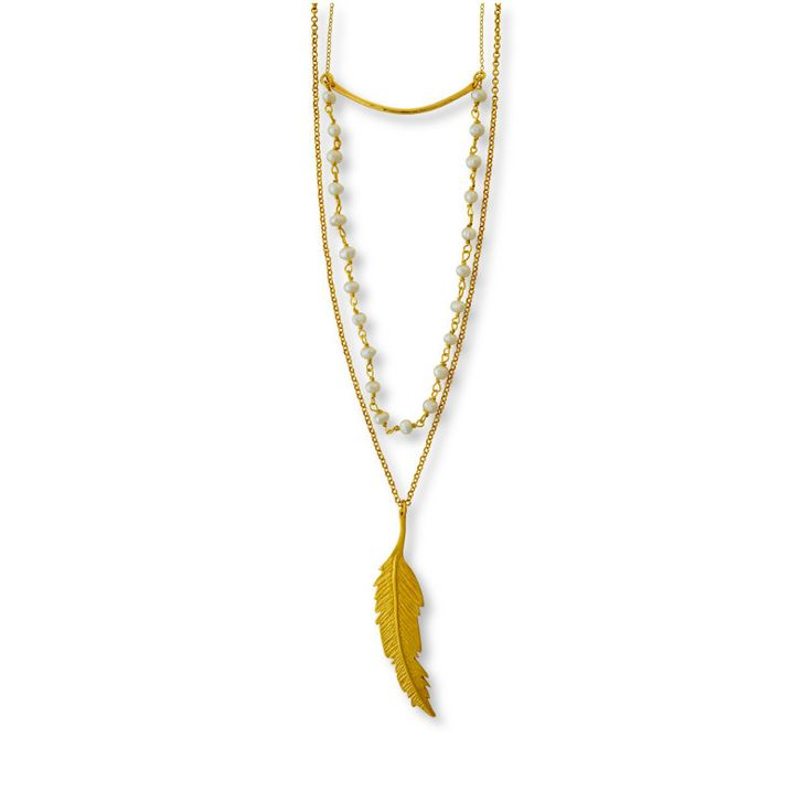 Multilayered Feather Necklace/ Jewelietta