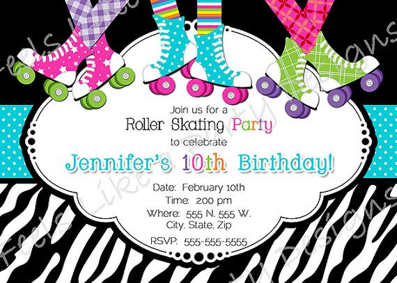41 best girls roller skating birthday party invitation images on, Party invitations