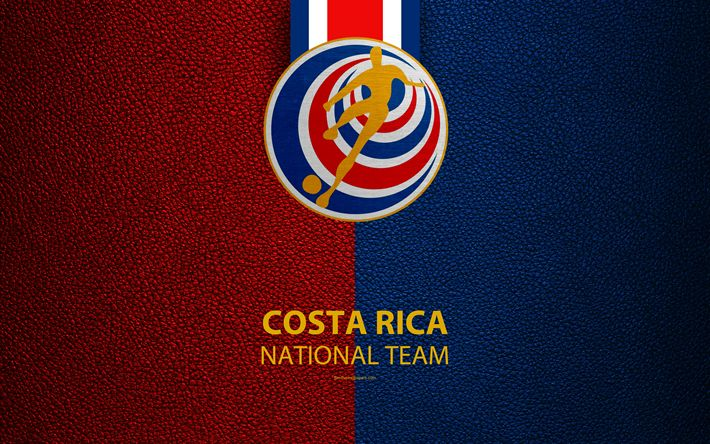 Download wallpapers Costa Rica national football team, 4k, leather texture, North America, Costa Rican Football Federation, logo, emblem, Costa Rica, football