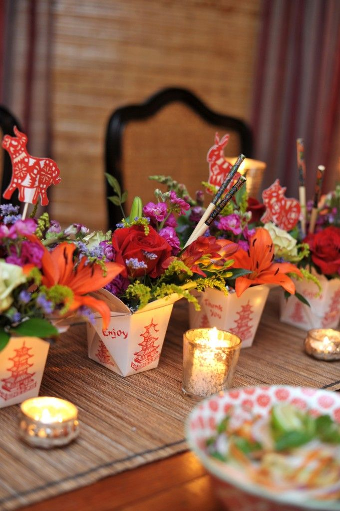 Create an amazing centerpiece using Chinese take out boxes. Tutorial in The Happy Everything Cookbook...