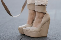 Nude wedges.  I'd pair these with black skinnies.
