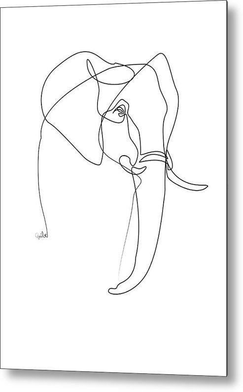 Minimalist Elephant Drawing: Elephant Line Metal Print By Quibe Sarl In 2020