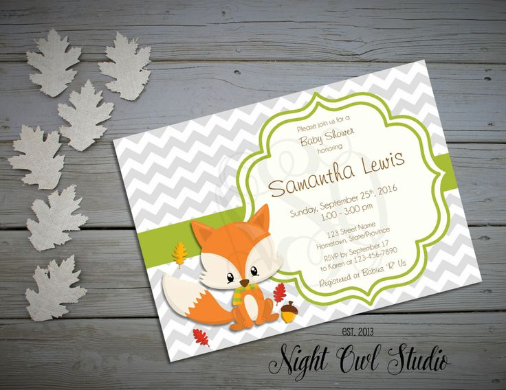 Fox Invitation-Woodland Invitation-Baby Shower Invitation-Woodland…