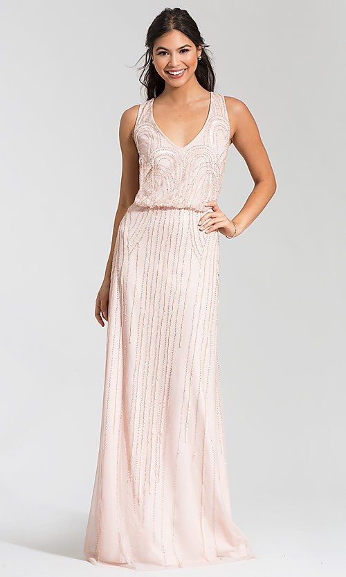 36a3993c Image of beaded blush pink bridesmaid dress by Adrianna Papell. Style: AP-091900120-B  Front Image