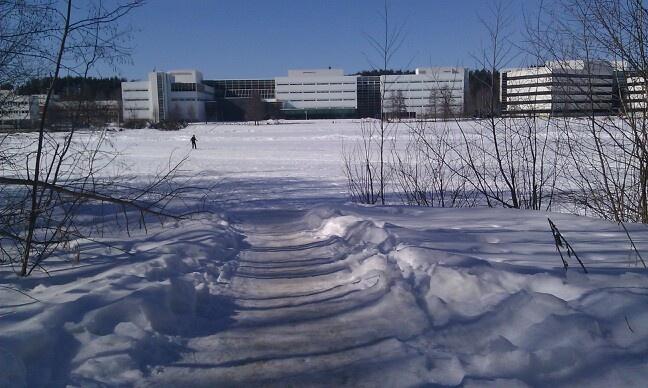 Shortcut to knowledge, path over Jyväsjärvi lake to Mattilanniemi campus