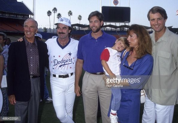 Aug. 22., 1992 Actor Tom Selleck father Robert brother Daniel sister Martha and son Logan and brother Robert Jr attend the 35th Annual 'Hollywood Stars Night'...