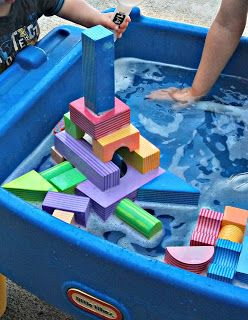 four foam block building ideas that involve sensory experiences and new building challenges for kids