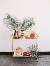 Tropical Bar Cart. Grab a cocktail and dive right in!