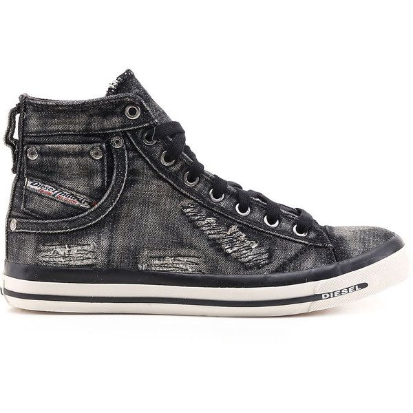 Diesel EXPOSURE IV W Casual Shoes ($126) ❤ liked on Polyvore featuring shoes, sneakers, casual shoes, footwear, grey, women, diesel shoes, high top sneakers, lace up high top sneakers and gray high tops