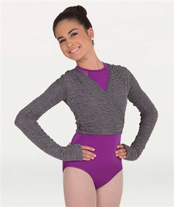 Body Wrappers Adult Premiere Textured Crinkle Cover-Ups Wrap Front Sweater-P405
