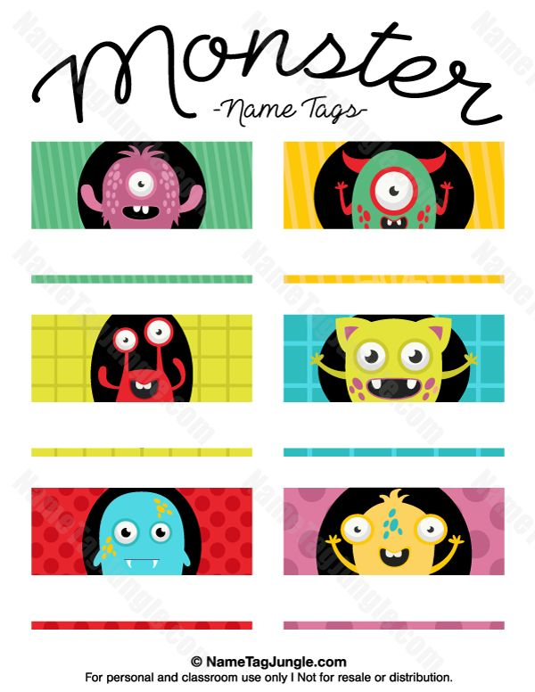 Free printable monster name tags. The template can also be used for creating items like labels and place cards. Download the PDF at http://nametagjungle.com/name-tag/monster/