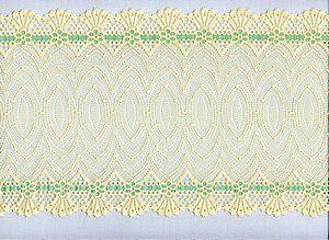 Elastische Spitze, in Pastellgelb mit Poolblau, Artdeco-Muster