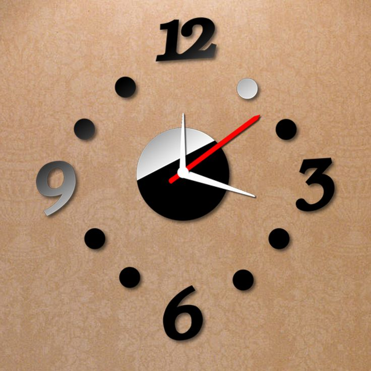 Creative Digits Wall Clock Stickers Set DIY Mirror Effect Acrylic Glass Decal Home Removable Decoration