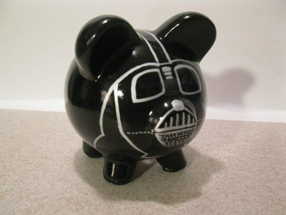 Personalized Handpainted Darth Vador Piggy Bank  by PigPatrol