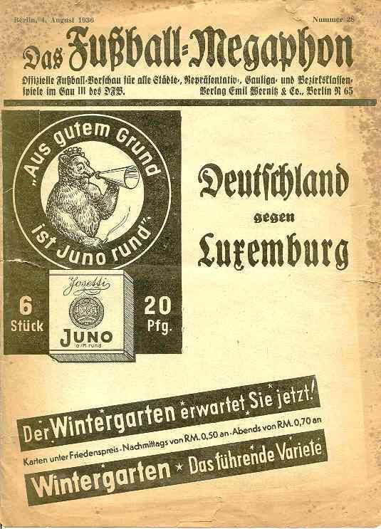 Germany 9 Luxembourg 0 in 1936 in Berlin. The programme cover for the 1st Round tie at the Olympic Games.