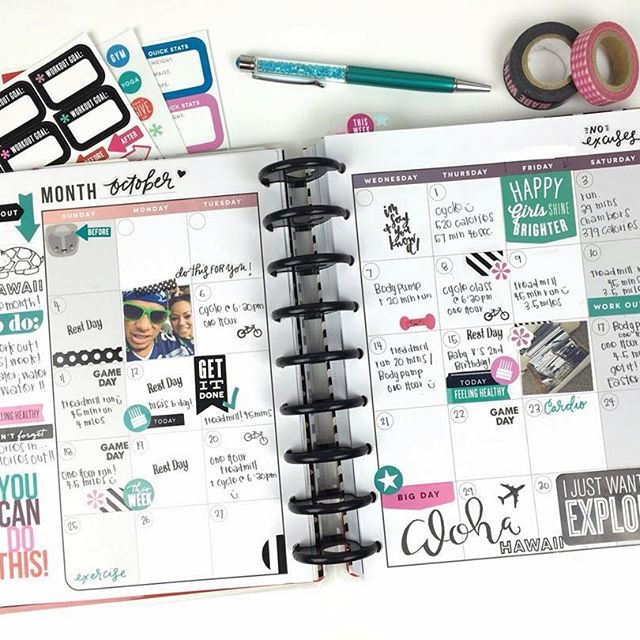 According to mambi Design Team member @_4everplanning's #HappyPlanner #FitnessPlanner, right now she's in Hawaii scouting locations for her wedding next year. As you can see from all the tracking she did in #October, she's been working to get her body well prepared for Hawaii's warmer weather activities. Go Chantal! #HPFitnessPlanner #TheHappyPlanner by @meandmybigideas