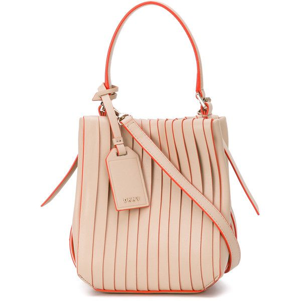 DKNY mini pleated crossbody (€365) ❤ liked on Polyvore featuring bags, handbags, shoulder bags, pink crossbody purse, leather cross body purse, pink shoulder bag, crossbody purses and pink purse