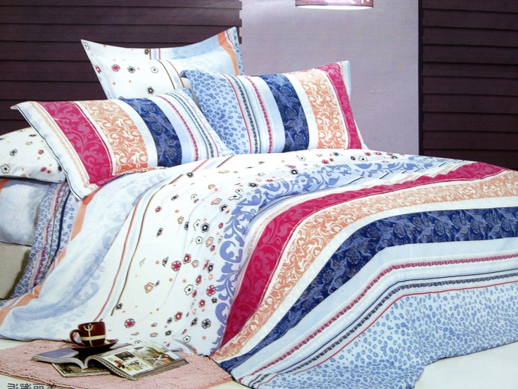 Polycotton Bed Linen Part - 39: Blue- Pink U0026 White Polycotton Bed Sheet(Set Of 3) @Rs.