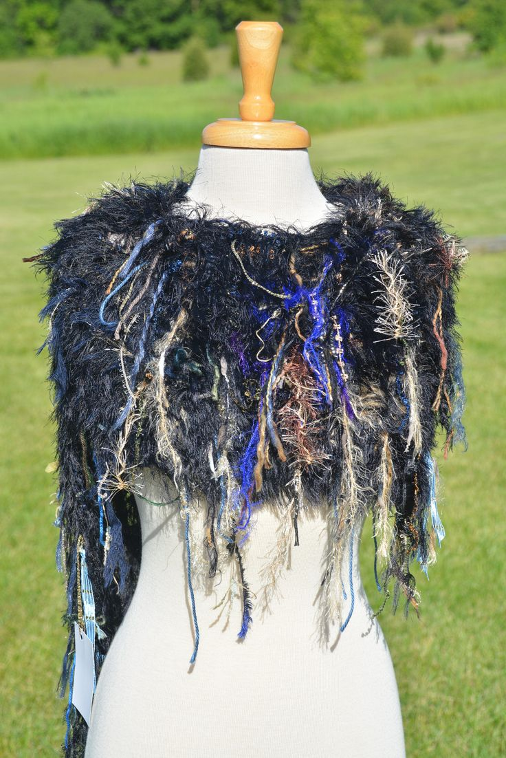 Dumpster Diva 'Dark Forest' Fringed Poncho with black fur, Huntress Fringed Knit Poncho, black blue greeb, black poncho, fringe scarf by RockPaperScissorsEtc on Etsy