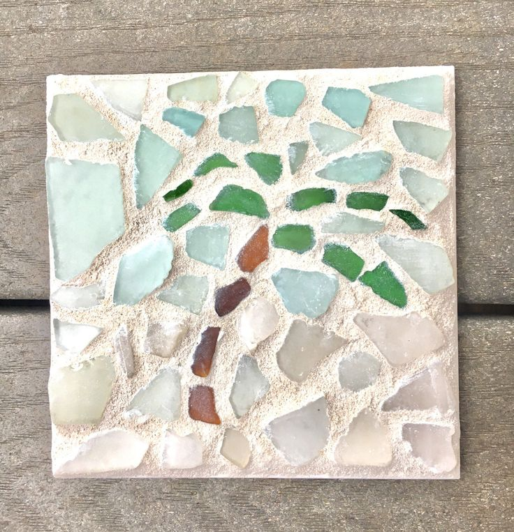Sea glass mosaic tile trivet palm tree with white sand and blue skies.  Beach, nautical, or coastal decor Ceramic tile beach glass tropical by SweepOfSand on Etsy https://www.etsy.com/listing/520874997/sea-glass-mosaic-tile-trivet-palm-tree