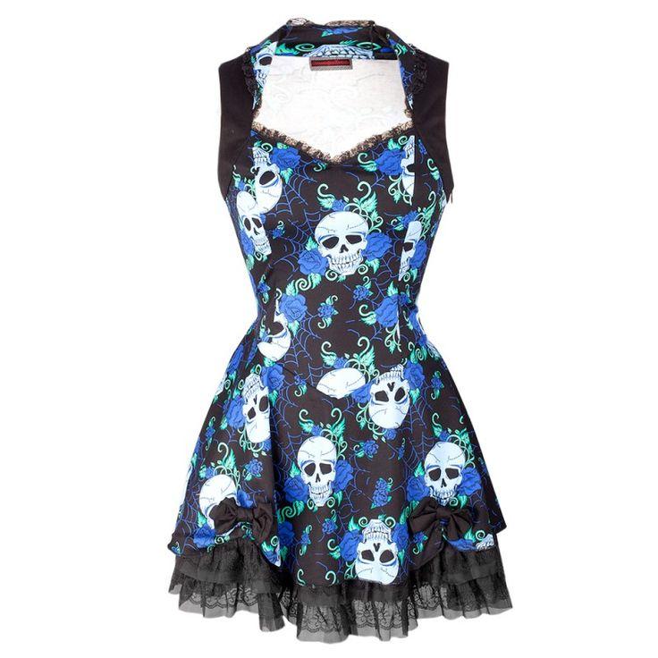 Robe Noire et Bleue Dos Nu avec Tête de Mort
