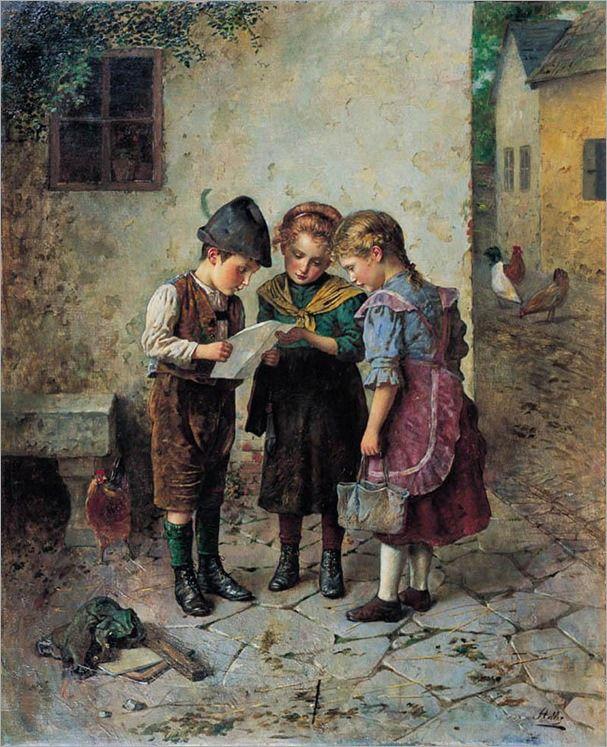 Boletim escolar, 1920 Edmund Adler (Áustria, 1871-1965) Óleo sobre tela,  59 x 69 cm