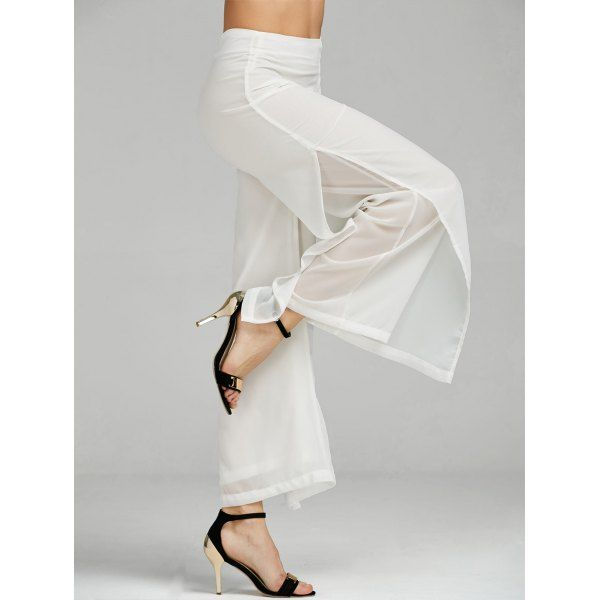 Wholesale High Waisted Side Slit Wide Leg Pants S White Online. Cheap High Waisted Swimsuit And High Waisted Tankini on Rosewholesale.com