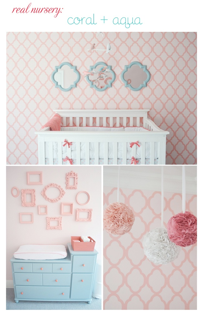 I love this coral and aqua nursery, mostly because these colors aren't common for a nursery...very unique!
