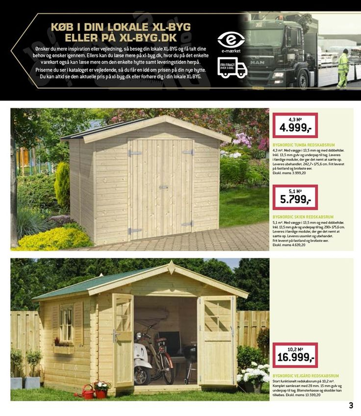 Hytter, redskabsrum og pavilloner - inspirationsbrochure fra XL-BYG