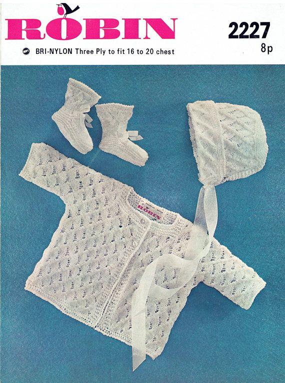 PDF Vintage Baby Christeniing Set Knitting Pattern Robin 2227