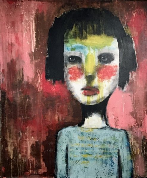 Art by Kari Anne Marstein, at Purenkel gallery in Oslo.  En stund, 120x100 maleri