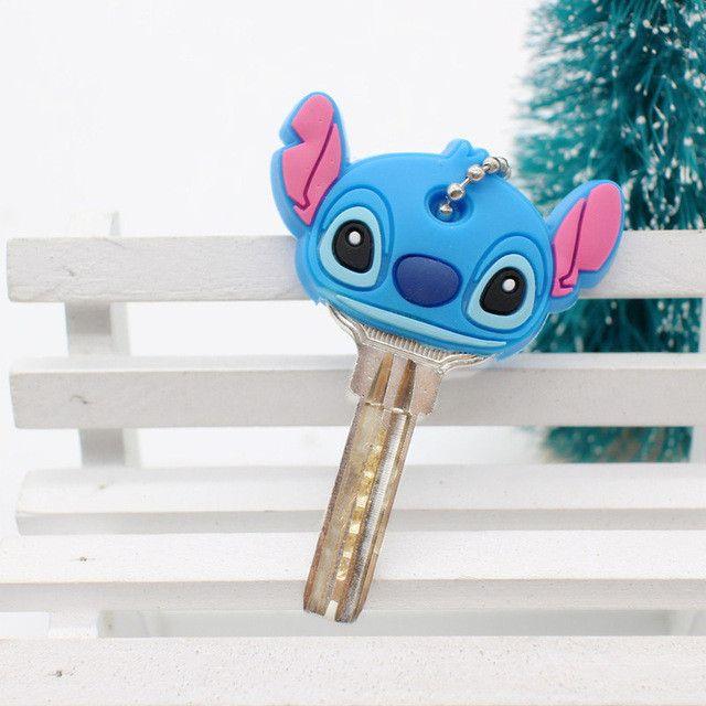 Cartoon Anime Minion Cute Owl Key Cover TO.US Bear Mickey Keychain Silicone Hello Kitty Holder porte clef Ring cat cap chain